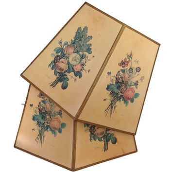 Vintage Lamp Shades-Paper Lamp Shades-Shabby Chic-Floral Table Lamp Shades-Home Decor-6 Sided-J. L. Prevost Flower Art-Lampshades