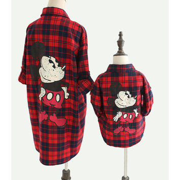 1-10T Family Clothing 2017 New Summer Mother Daughter And Son Baby Family Matching Clothes Family Look Mickey Mouse Shirt JQ224