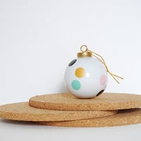 Christmas Ball Gold, Mint and Pink . Porcelain French Quality . Ornament Christmas . Colored Dots . Geometric Christmas Ball. Pastel