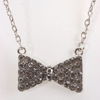 Black Rhinestone Bow Pendent Necklace