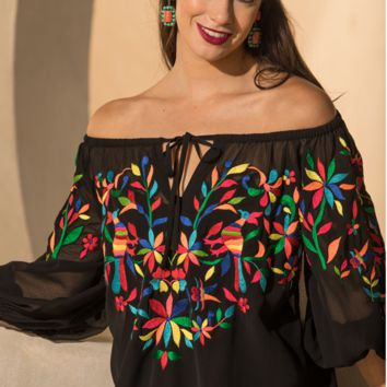 Roja Collection Spring 2018 Otomi Peasant Top~ Black