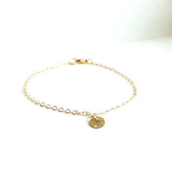 Initial Bracelet, Tiny Gold Letter Bracelet, Gold Chain Bracelet, Dainty Gold Bracelet, Thin Gold Bracelet, Simple Cute Everyday Jewelry