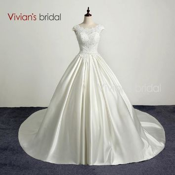 Bridal A Line Country Western Wedding Dress Cap Sleeve Lace Satin Wedding Gown