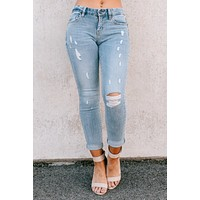 Play For Keeps Mid Rise Distressed Jeans (Light)