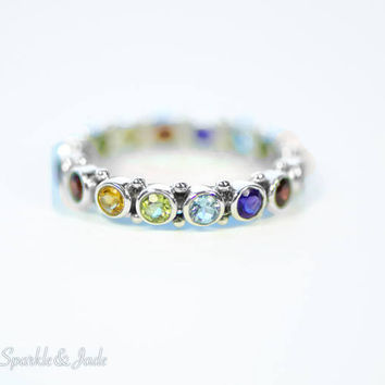 Rainbow Multi Genuine Gemstone Sterling Silver Eternity Ring with Amethyst Garnet Citrine Peridot and Blue Topaz