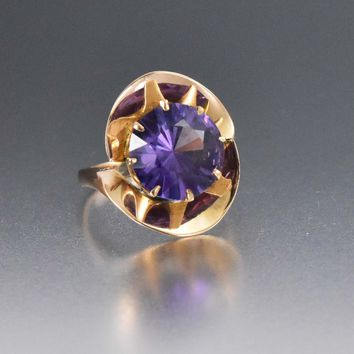 Gold Color Change Vintage Sapphire Statement Ring