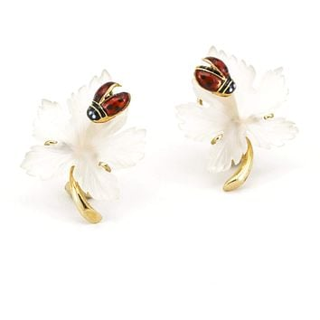 Maple Leaves with Ladybug Quartz Earrings in 14k Yellow Gold