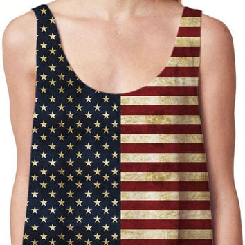 The American Flag Print Sleeveless Cropped Tank Top