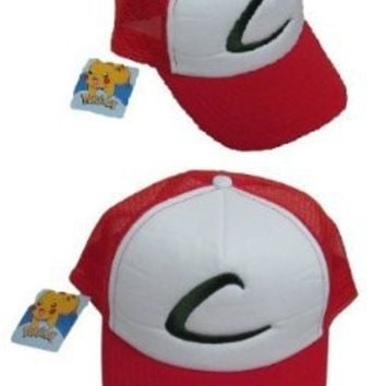 Pokemon trainer hat Ash Ketchum Original series costume Cap Adult size