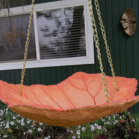 Hanging leaf Bird bath, Peach colored bird bath, OOAK concrete Leaf, Hand painted, Yard art, Patio decor, Bird Bath, Bird feeder