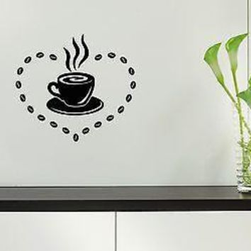 Wall Stickers Vinyl Decal For Kitchen Coffee Cup Cafe Unique Gift ig1543