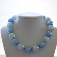 Vintage 1950's Blue Beaded Necklace, Moon Glow Necklace