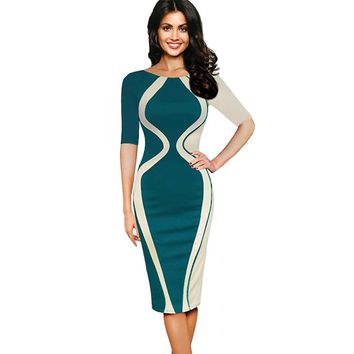 Oxiuly Optical Illusion Patchwork Elegant Casual Work Short Sleeve Gathered O-Neck Bodycon Women Office Pencil Slim Green Dress