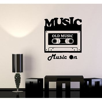 Wall Decal Old Music Cassette Record Player Lettering Words Vinyl Sticker (ed1419)