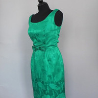 Vintage 1960s Emerald Green Silk Brocade Dress Mardi Gras Embroidered Cocktail Dress Size small Prom Gown Party Dress Mad Men Wiggle Dress