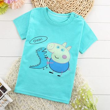 Children's Boys/girls T-shirt Baby Clothing Summer Mouse Pig Character Tee Cotton Tops Cartoon Unisex Kids Clothes 2-9 years