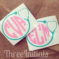 Nurse Decal Monogram Car Decal  Vinyl Decal Monogram Gift Monogram sticker Car sticker Car Initials Vinyl Initials Vinyl Lettering