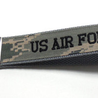 Military Key Fob, US Air Force ABU Embroidered Key Fob, Ready to Ship Key Fob, Wristlet or Key Chain, Gray webbing Black Embroidery