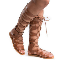 Bayside14S Tan Pu by Bamboo, Tan PU Knee High Loop Cut Out Lace Up Roman Gladiator Flat Sandal