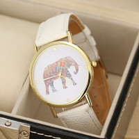 Fashion Women Elephant Printing Pattern Weaved Leather Quartz Dial Watch (Color: White) = 1932542596