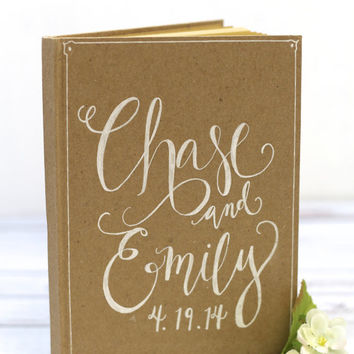 Beautiful Vintage Calligraphy Guest Book with Personalized Names