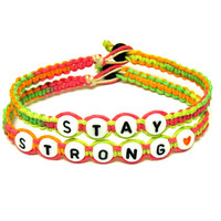 Stay Strong Neon Bracelets, Multicolor Macrame Hemp Jewelry, Recovery Bracelets, Made to Order