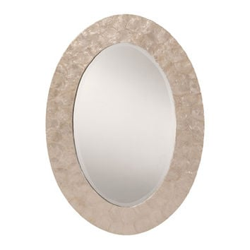 Office Star Decorative Beveled Wall Mirror with White Mother of Pearl Finished Frame