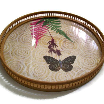 Vintage Bamboo Butterfly Tray with Dried Flowers and Lace, Serving Tray, Butterflies
