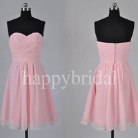 Lovely Sweetheart Short Pink Bridesmaid Dresses Chiffon Prom Dresses Party Dresses Evening Dresses Homecoming Dresses 2014 Wedding Events