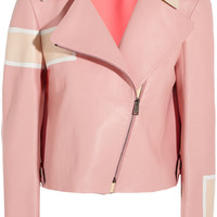 Fendi - Striped leather biker jacket