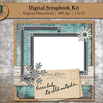 Digital Scrapbook Kit for online scrapbooking - brrr baby it's cold outside - 12x12 - 300 dpi - Digital Download