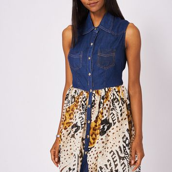 Button Front Denim Dress With Abstract Pattern