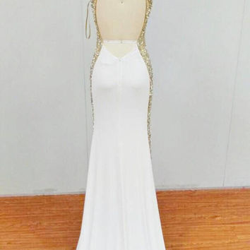 Sleek sexy fitted wedding dress with champagne beaded cut outs on the side, unique sexy wedding dress, beaded wedding dress, custom