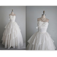 50's Wedding Dress // Vintage 1950's Ruched White Chiffon Strapless Wedding Dress Gown S