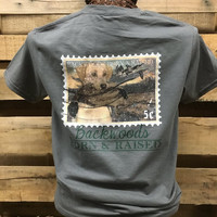 Backwoods Born & Raised Dog Stamp Bright Unisex T Shirt