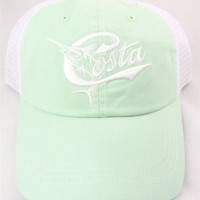 Costa Del Mar Retro Trucker Hat with Snap Closure, Juniper/White