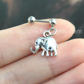 Silver Tiny Elephant Tragus Earring Jewelry,vintage Elephant barbell piercing jewelry,cute Elephant ear Helix Cartilage jewelry