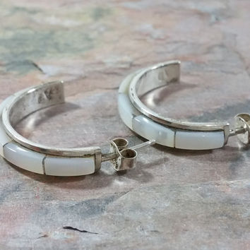 Vintage Mother of Pearl Sterling Silver Half Hoop Earrings MOP Shell Posts with Butterfly Backings