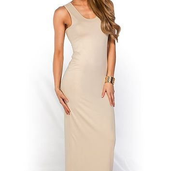 Qadira Nude Casual Racerback Jersey Maxi Dress