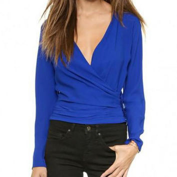 V-neck Slim Fit Blouse