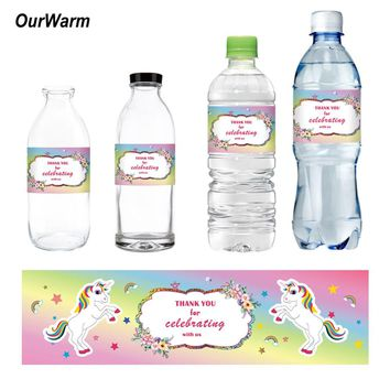 OurWarm 24pcs Unicorn Theme Water Bottle Labels Baby Shower Decorations Kids Birthday Party Supplies Magic Dreamy Fantasy
