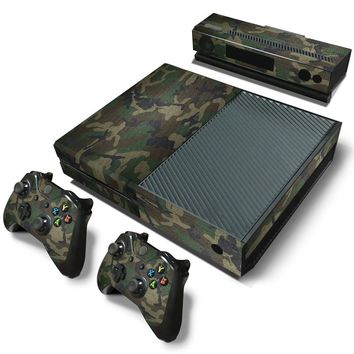Camouflage Camo Pattern Removable Vinyl Decal Skin for XBOX One Console+2 Controller