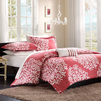 Twin / Twin XL size Red Raspberry Floral Flowers Comforter Set