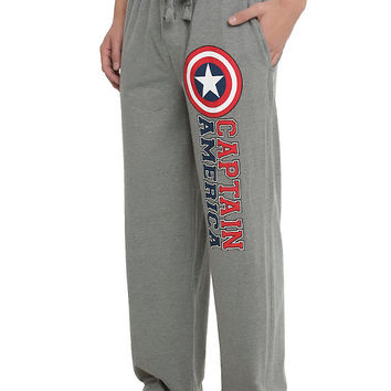 Marvel Captain America Shield Logo Guys Pajama Pants