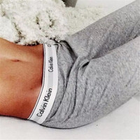 """ Calvin Klein "" Print Solid Grey Stretch Jogging Yoga Gym Sports Fitness Women Sweatpants Trousers Pants _ 1871"