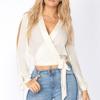 Makayla Surplice Top - Ivory