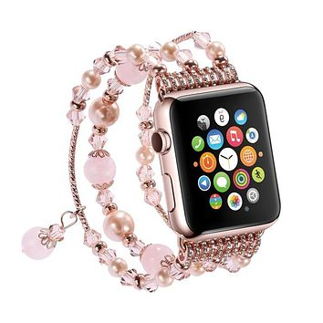 Women's Handmade Elastic Stretch Natural Stone Bracelet Replacement for Apple Watch Band