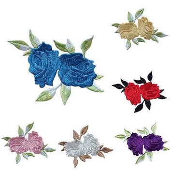 1x Rose Flower Leaves Embroidery Iron On Applique Patch 8*6.5cm  TBUS