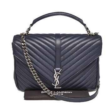 Saint Laurent YSL Handbag Shoulder Bag Crossbody Monogram College Poncho Deep Marine Navy Blue 392738