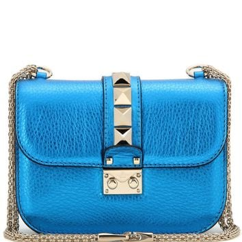 Lock Small metallic leather shoulder bag